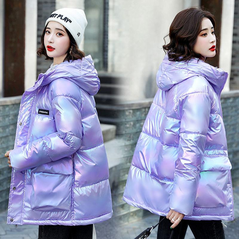 晶际正品棉服女新款炫彩亮面韩版宽松中长款羽绒棉服时尚加厚外套