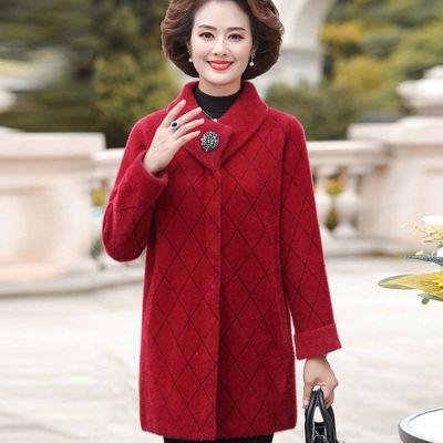 晶际正品秋冬季妈妈装水貂绒中长款大衣中年女士休闲格子加厚外套
