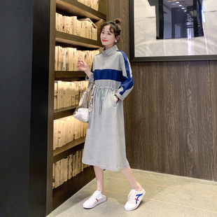秋季连衣裙女2019新款蝙蝠袖卫衣裙韩版显瘦运动中长款收腰连衣裙品牌