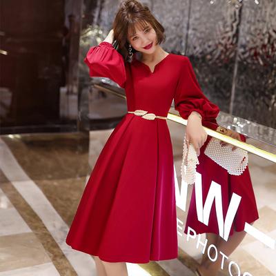 红色小晚礼服女平时可穿气质宴会敬酒服新娘结婚回门便装夏连衣裙