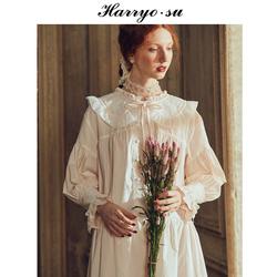 哈里欧苏宫廷睡裙女秋长款蕾丝拼接性感纯棉公主风睡衣女春款长袖