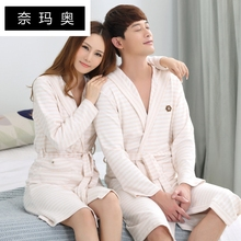 Naimao New Spring 2008 Couple Nightgown Bathrobe Fashion Long Sleeve Nightgown Coloured Cotton Knitted Cotton Pajamas