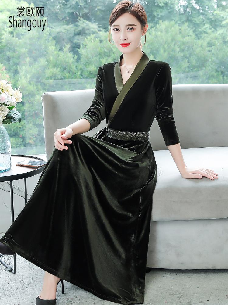 阔太太金丝绒连衣裙高贵洋气贵夫人长裙高端新式旗袍改良低领秋冬需要用券