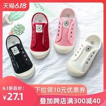 儿童帆布鞋男童鞋子夏季透气女童小白鞋幼儿园一脚蹬室内单鞋板鞋