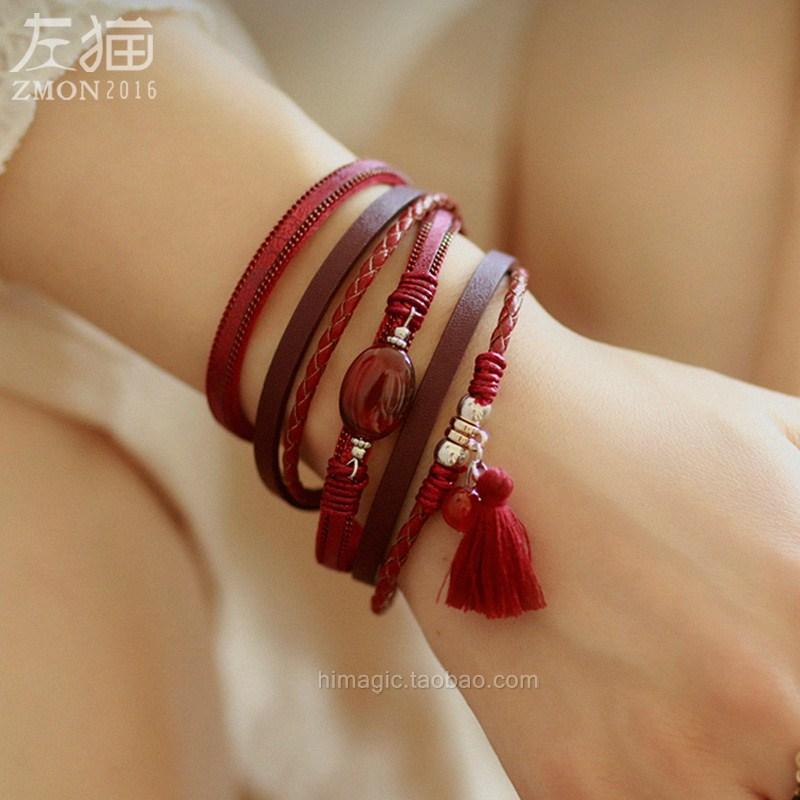 多层复古宽皮手链女 民族风手腕带手镯多圈皮绳森系手带 饰品