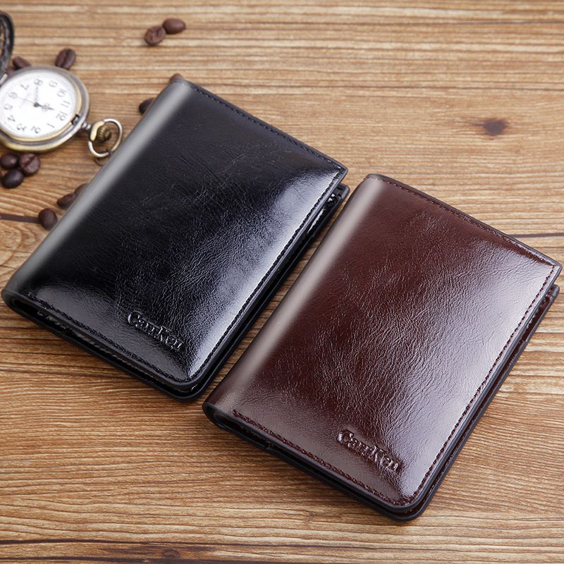 Mens wallet short leather ultra-thin vertical oil wax leather wallet drivers license with zipper buckle multifunctional