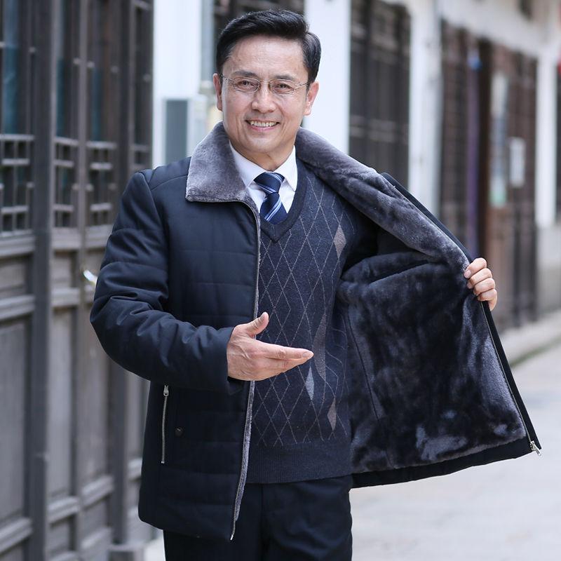 2019冬季男士加绒加厚棉衣中老年男装外套40岁中年爸爸羽绒棉服50