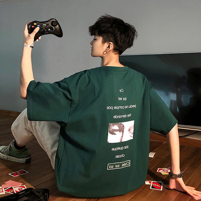 (用5元券)ins风韩版欧美风嘻哈印花短袖潮牌宽松圆领bf男生t恤绿色夏季潮流