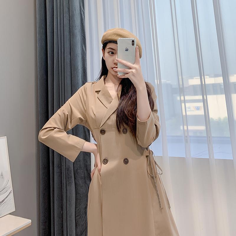 2019秋季新款连衣裙女法式收腰气质显瘦小个子中长款小香风西装裙