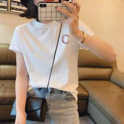 韩国镶钻白色短袖t恤女修身2020夏季新款洋气纯棉半袖百搭上衣潮