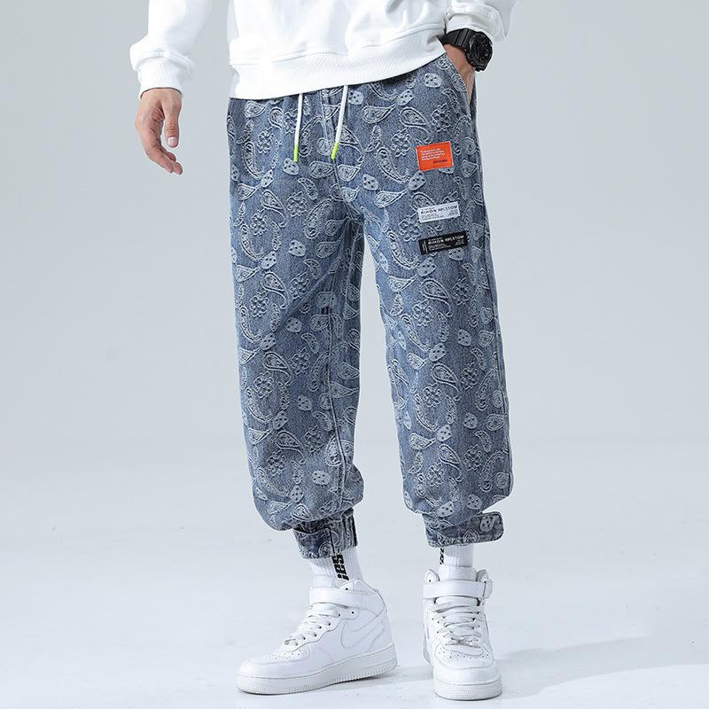 2021 autumn winter new mens jeans youth large loose pants jacquard Harlan denim Leggings