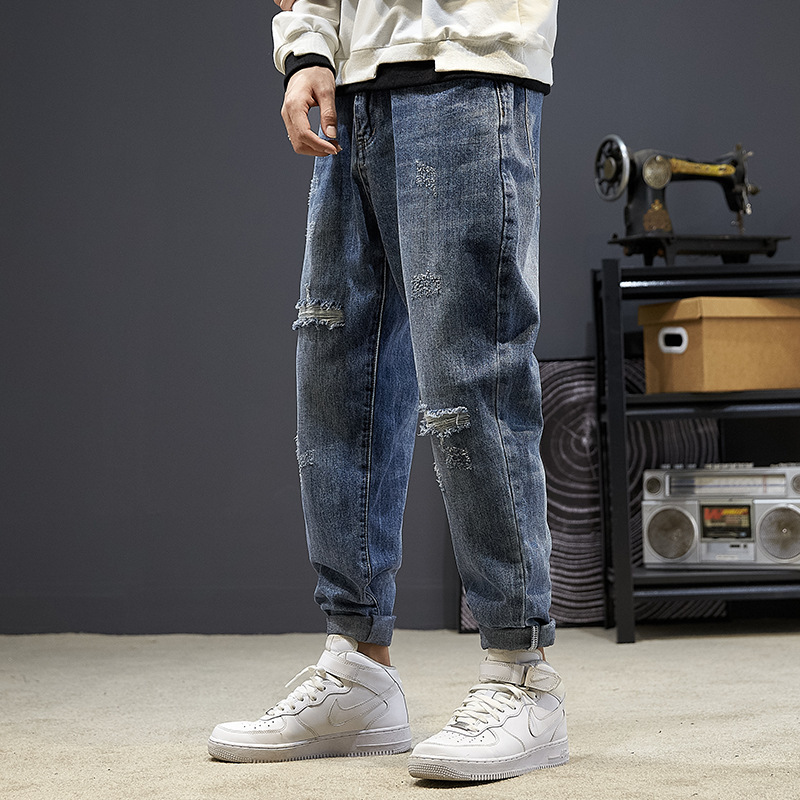 Autumn and winter ripped jeans mens loose large 2021 new fashion brand Harlan pants mens casual small leg pants mens
