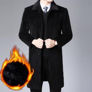 肯梵图冬季男士毛呢大衣休闲男风衣毛领双面绒加厚保暖外套男上衣
