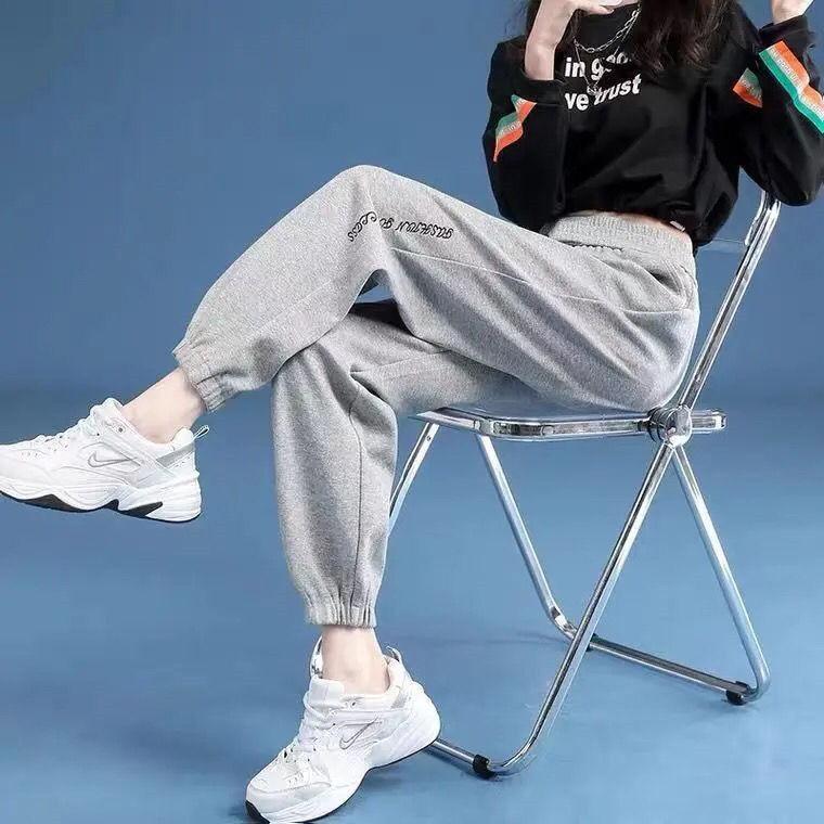 肯梵图灰色运动裤女2021春季新款宽松束脚卫裤显瘦学生韩版休闲裤