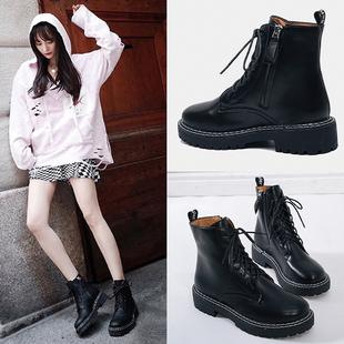 秋季马丁靴女英伦风学生厚底中跟机车靴子女侧拉链短靴粗跟工装靴
