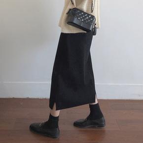 毛呢大码半身裙胖mm秋冬黑色显瘦遮胯a字中长款高腰开叉包臀裙子