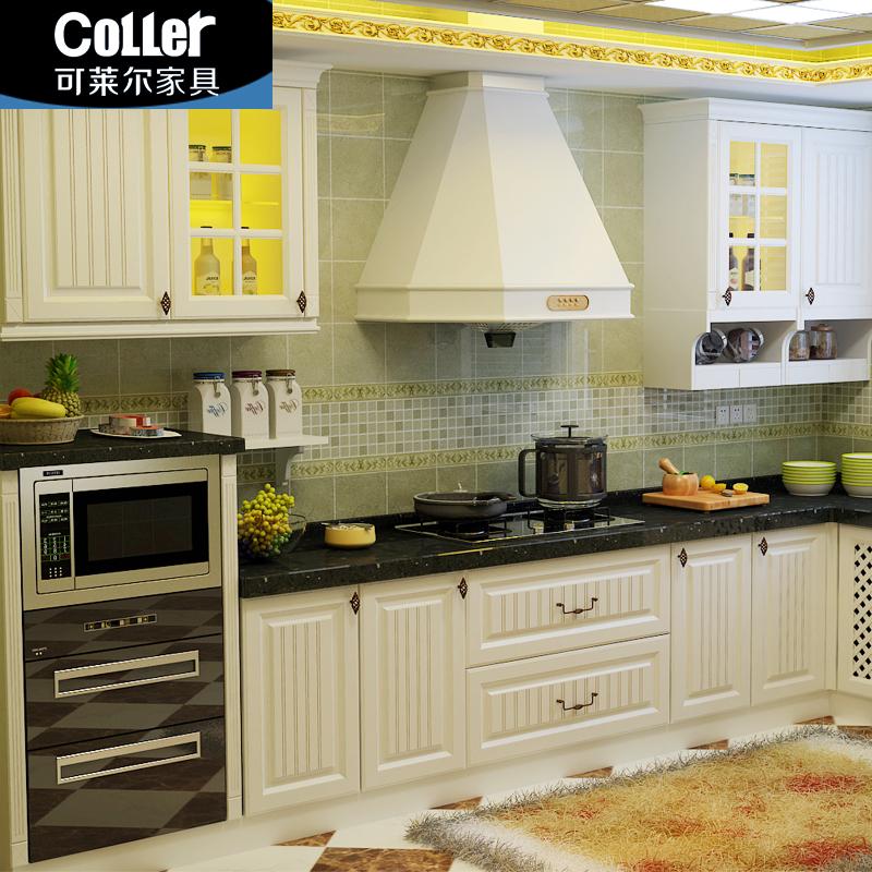 可莱尔欧式模压橱柜 福州整体橱柜定制 吸塑田园白色厨房定做简欧