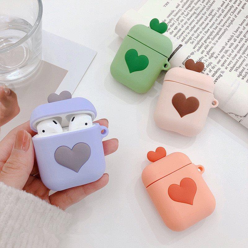 爱心AirPods耳机套保护套苹果专用日韩国女款硅胶防摔个性创意包