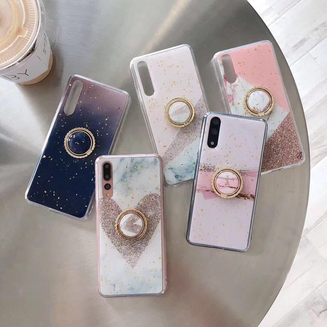 适用iphonex手机壳大理石max金箔滴胶软壳X全包支架指环壳7plus套