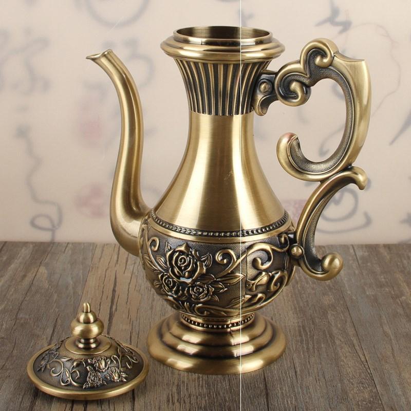 中式小酒壶仿古白酒分酒器家用个性轻奢青铜酒具酒壶半斤装250ml