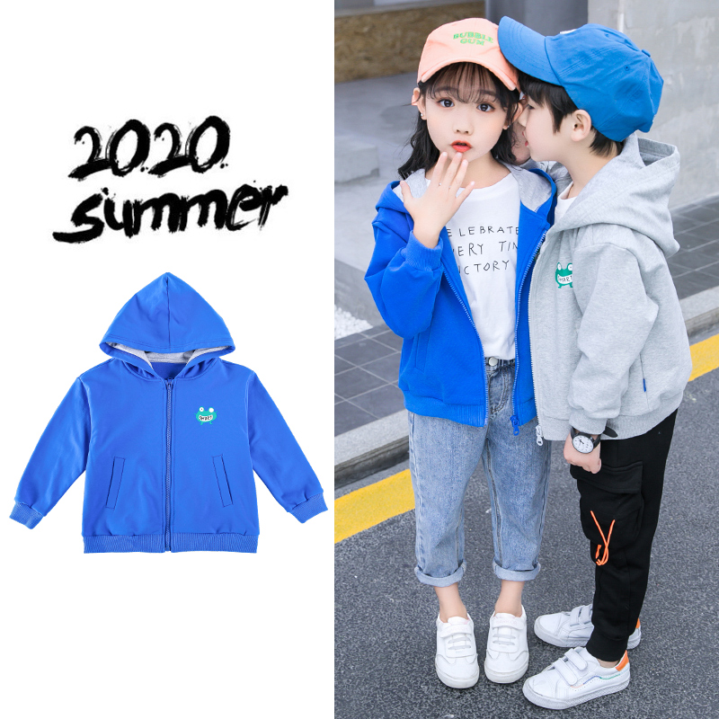 Childrens sweater boys spring and autumn fashion girls Korean version of foreign style childrens Sweatshirt 1-6 Baby Hooded Jacket