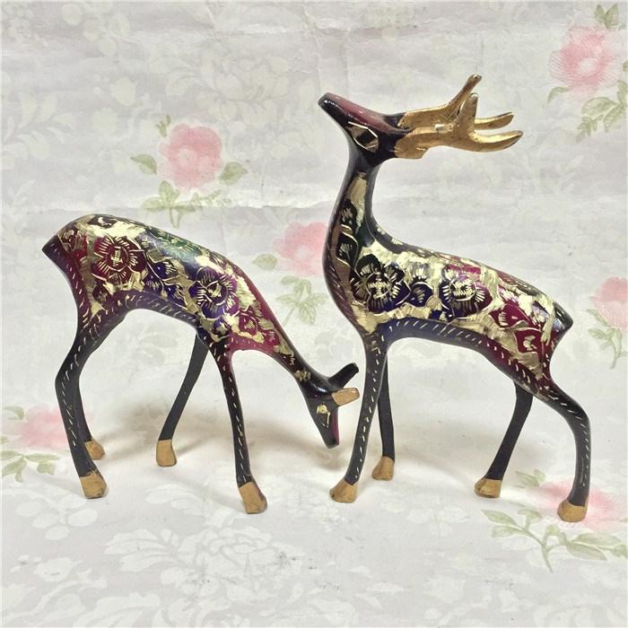小鹿摆件巴基斯坦铜器雕刻手工艺品对鹿家居装饰品精美摆设礼品