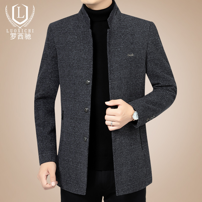 New middle-aged mens woollen jacket dad mens wool jacket in spring and autumn 2020