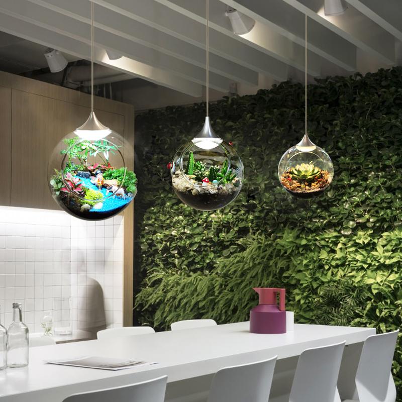 北欧レストランのシャンデリアの創意的な個性led植物ランプのガラス玉の店装飾insスタイルのイルミネーションネットが赤いです。
