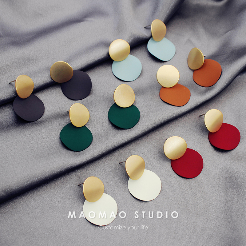 Korean dongdamen ins net red Earrings stitched circle color contrast Earrings temperament face thin Earrings S925 silver needle