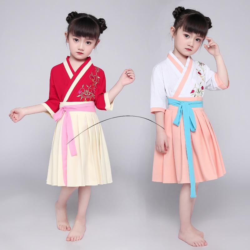 儿童汉服短裙款改良曲汉服日常民族风女童套石烹国家对比电脑外包