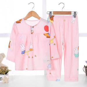 儿童棉绸睡衣夏季薄款女童小女孩宝宝夏天绵绸空调家居服睡衣套装