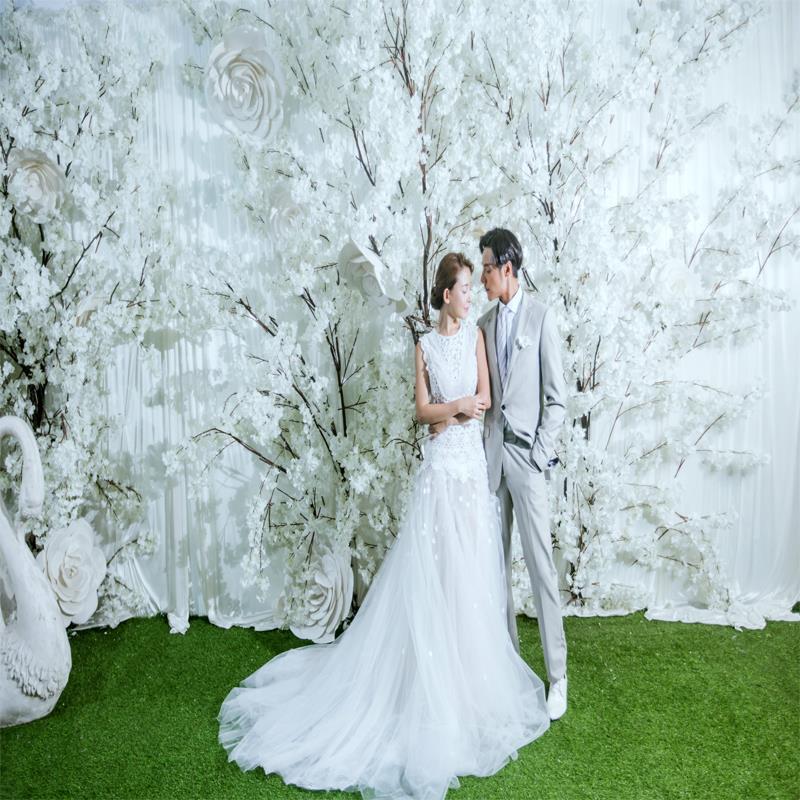新品影楼婚纱拍摄背景纸韩版仿真实景花墙摄影背景直播拍照背景布