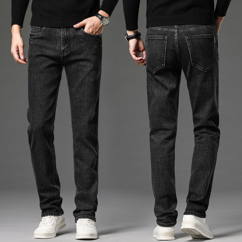 New autumn black grey jeans mens slim straight elastic business youth leisure autumn winter cattle