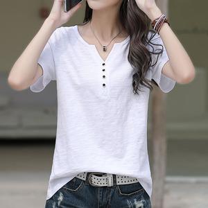 白色T恤女短袖夏装2021年新款纯棉宽松大码纽扣V领半袖女装体恤潮