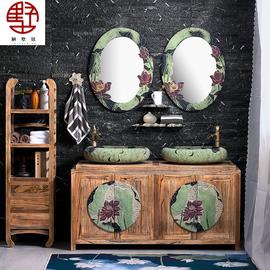 中式双盆浴室柜组合卫生间洗手盆洗脸盆洗漱台盆柜实木落地卫浴柜