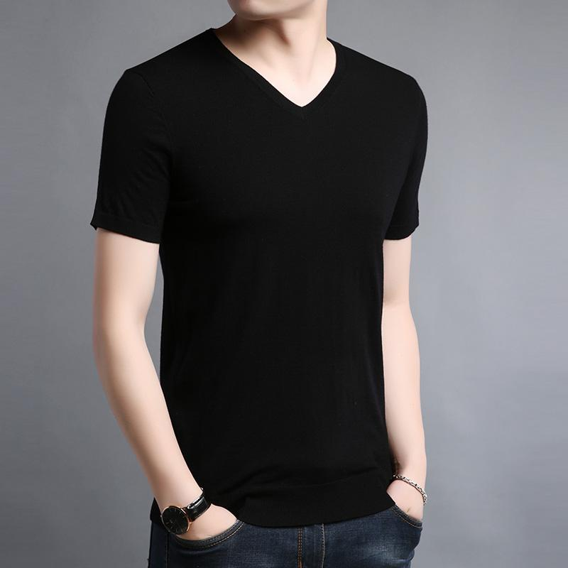 High end brand mens sweater autumn thin pure wool short sleeve T-shirt V-neck solid color sweater slim fit