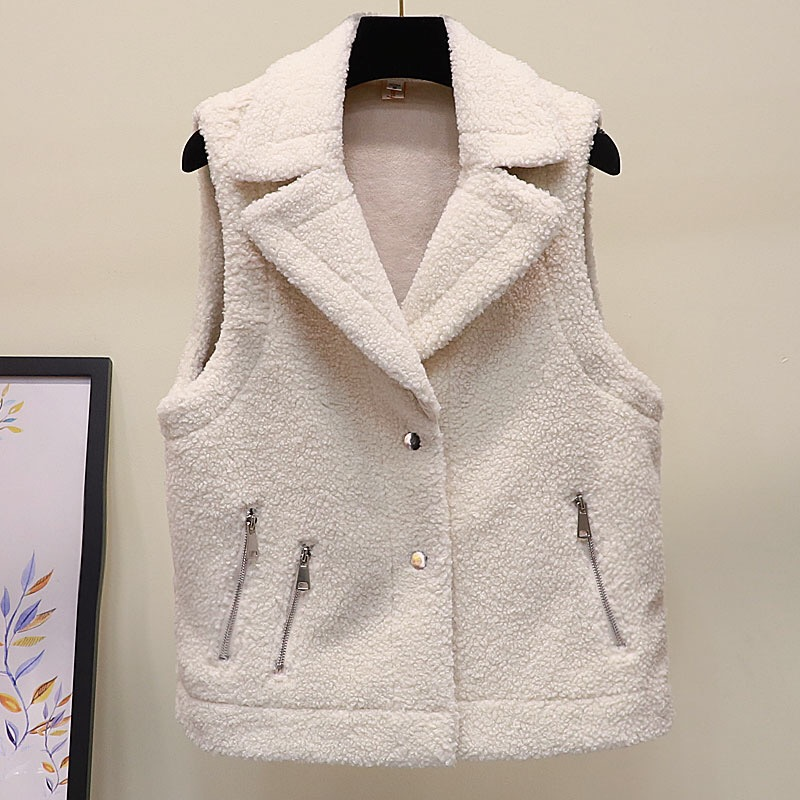 Autumn and winter fur all in one lamb hair vest for women