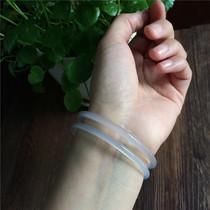 玛瑙窄细款手镯女款手饰波西米亚风白玉髓极细镯子