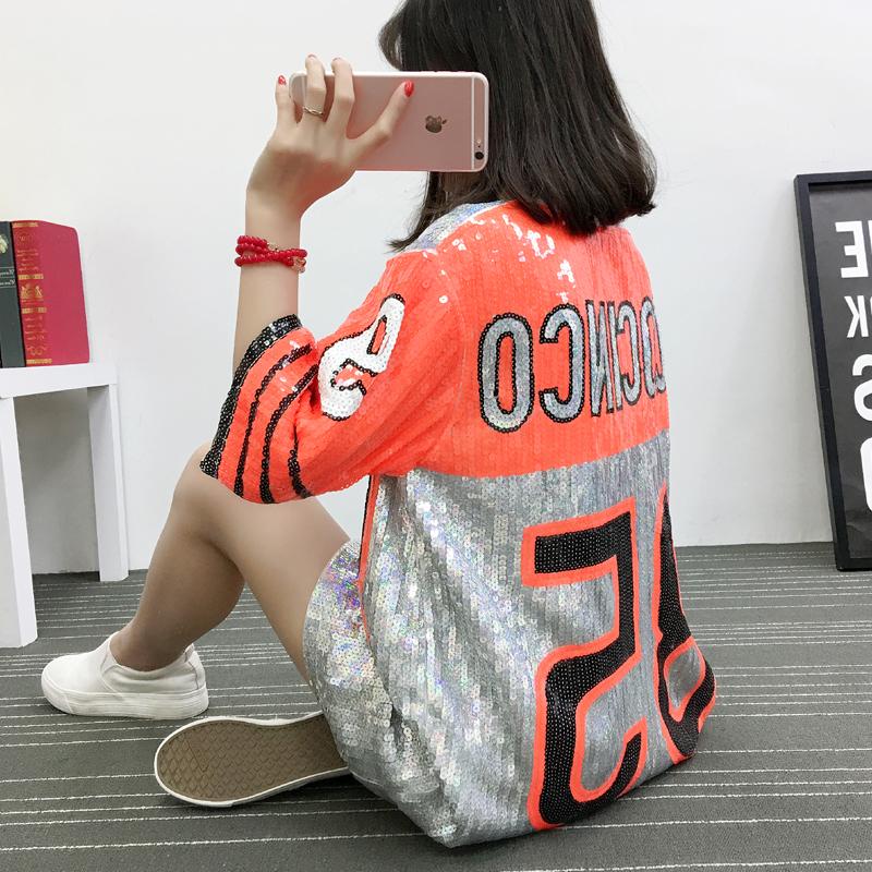 实拍685# 亮片T恤新款宽松欧美泰国潮牌亮片中长款短袖85号上衣女