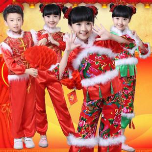 新款儿童秧歌演出服装幼儿喜庆开门红贺新春舞蹈服传统唐装民族服