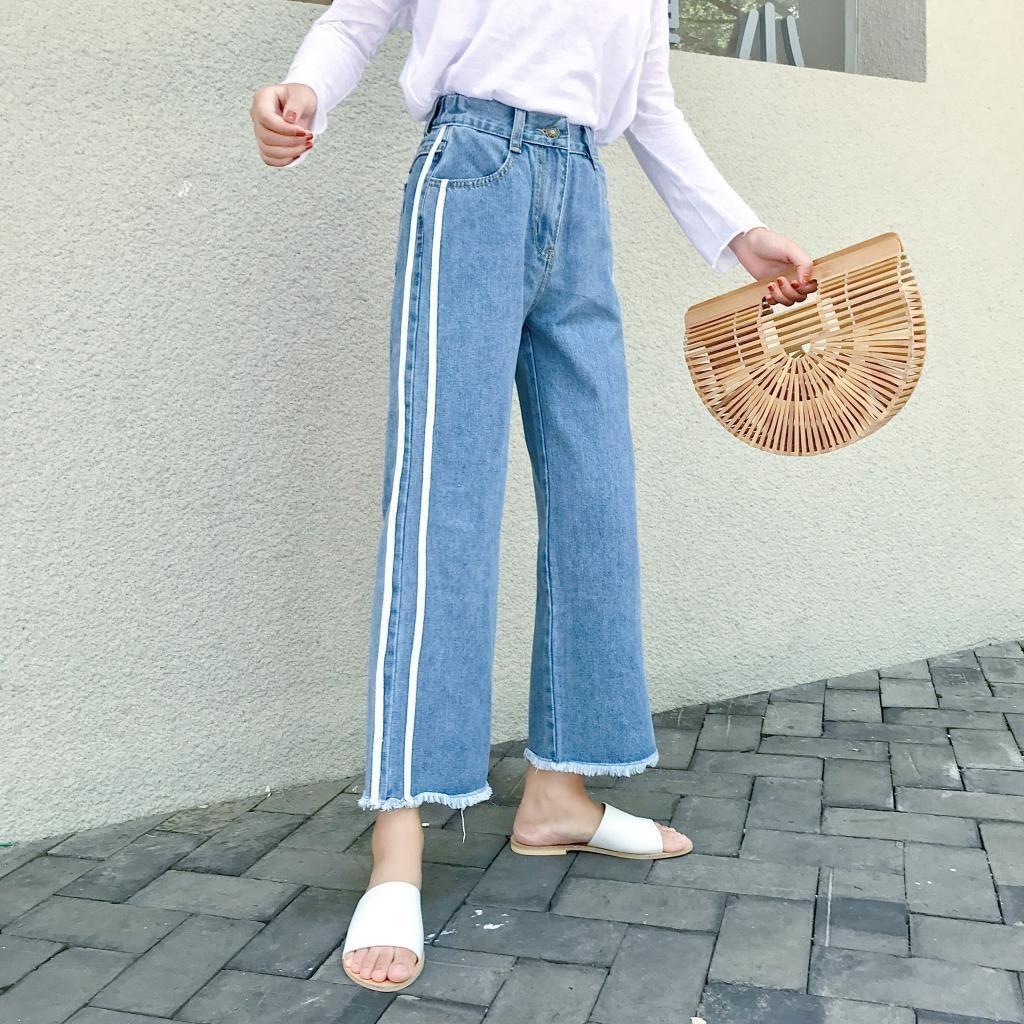松紧高腰阔腿九分裤宽松大码侧边条纹两杠水洗长裤女秋季新款