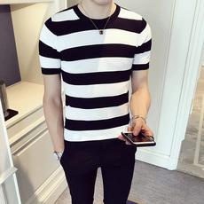 半袖毛衣男韩版潮流修身个性青年条纹圆领针织衫薄男短袖休闲线衣