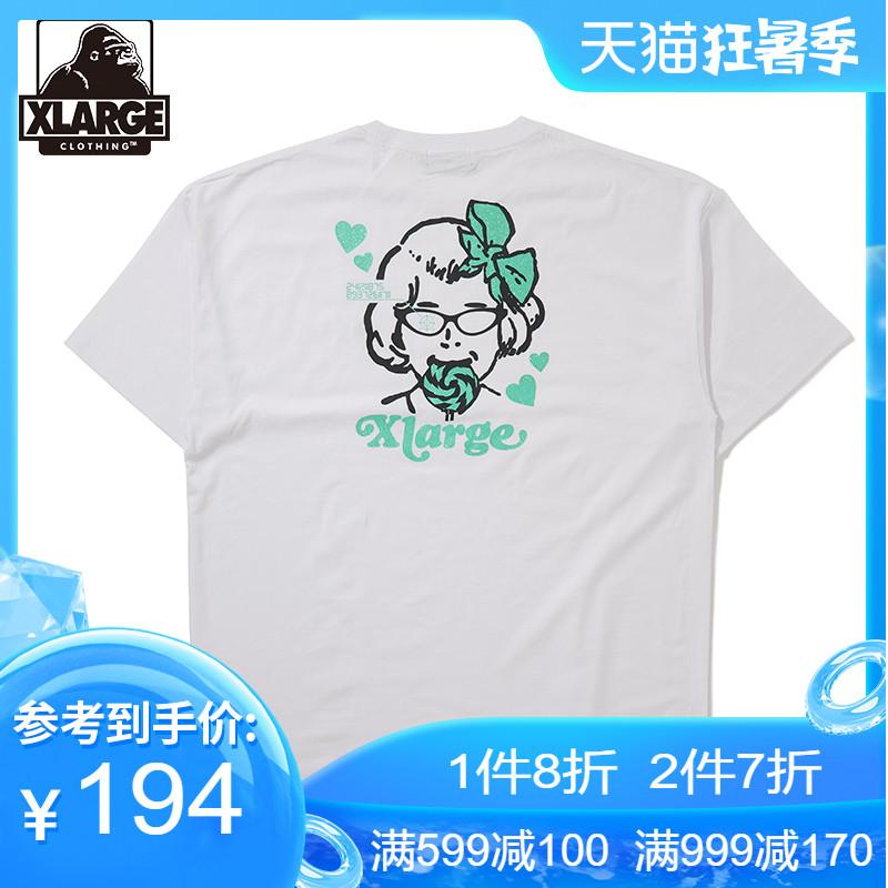 XLARGE春季新品潮流时尚趣味印花刺绣半袖休闲宽松短袖T恤男士潮