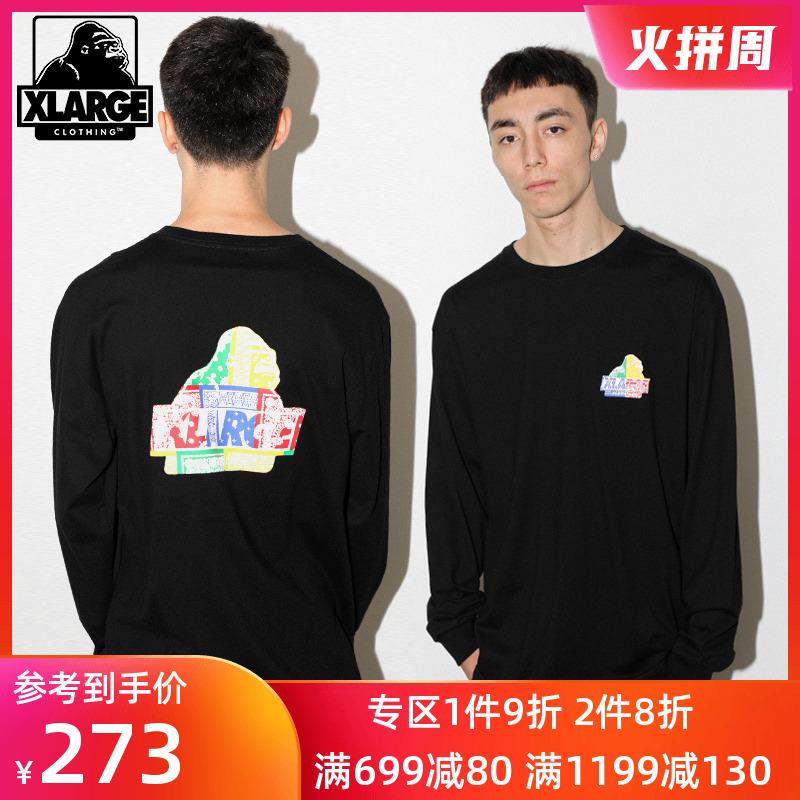 XLARGE潮流男装 大猩猩logo印花 圆领休闲宽松针织长袖T恤男潮牌