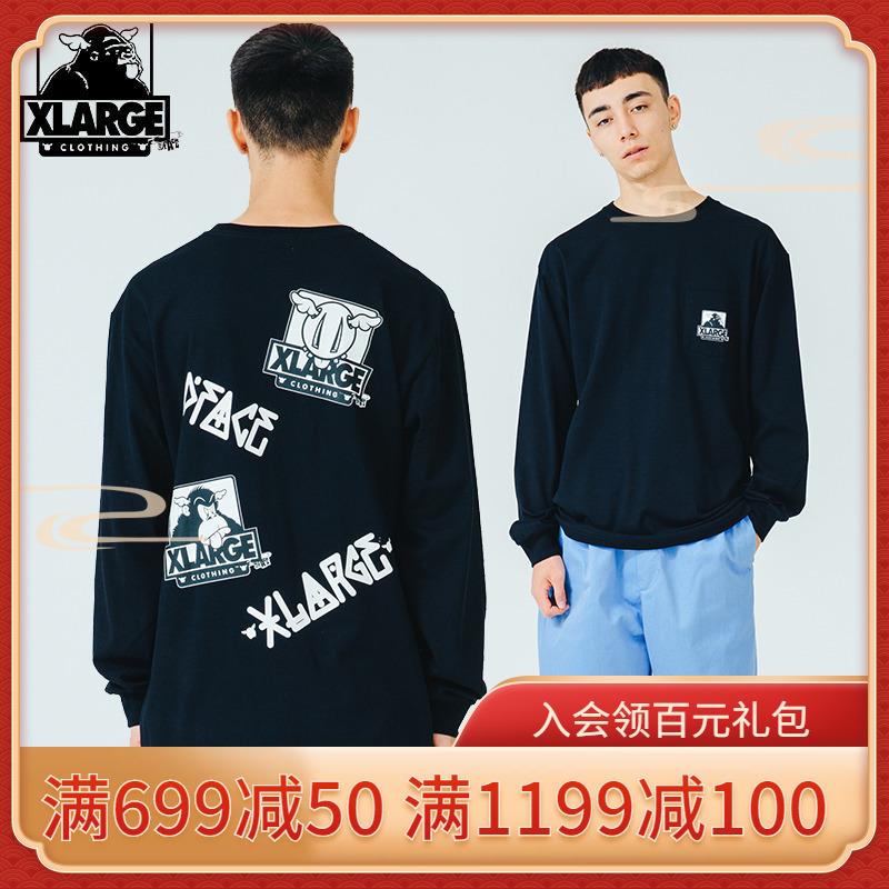 XLARGE X D*Face聯名款 秋冬新品時尚潮流街頭印花長袖T恤