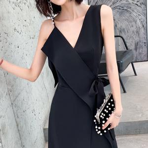 黑色宴会小女2021新款气质晚礼服