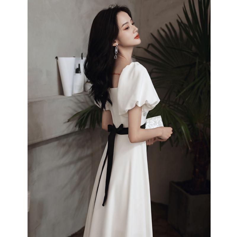 白色法式宴会女2020新款高级晚礼服