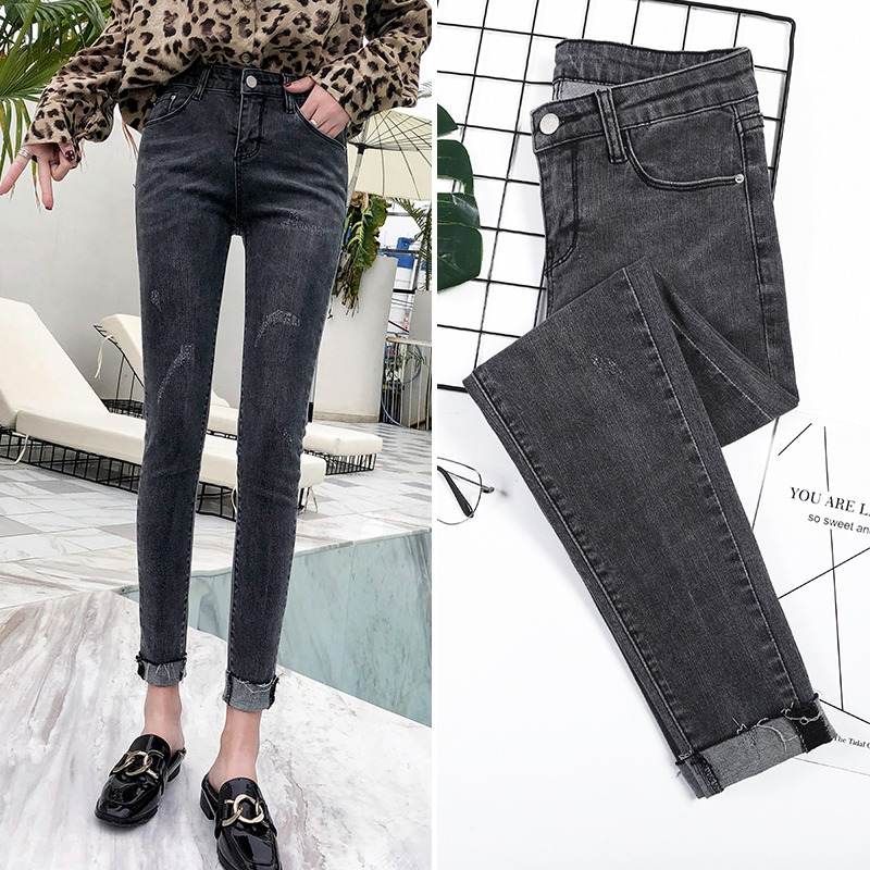 Smoke grey Plush jeans womens autumn and winter 2019 new Korean version student elastic slim flanging small leg long pants