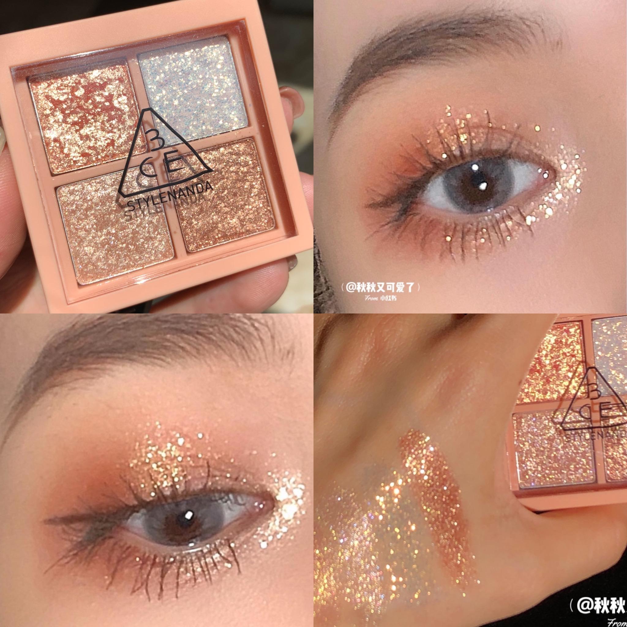 韩国3CE新品四色眼影盘4色珠光哑光葱片南瓜橘棕色防水闪粉珠光