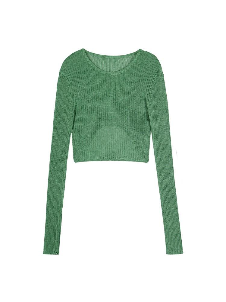 APEA2020年秋季新款温柔风纯色不规则竖纹显瘦针织衫长袖上衣女潮